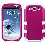 MYBAT SAMSIIIHPCTUFFSO008NP Premium TUFF Case for Samsung Galaxy S3 - 1 Pack - Retail Packaging - Titanium Solid Hot Pink/Solid White