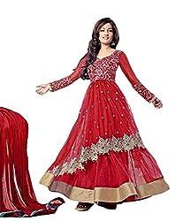 Ustaad Womens Semi Stitched Net Anarkali Salwar Suit (Red)