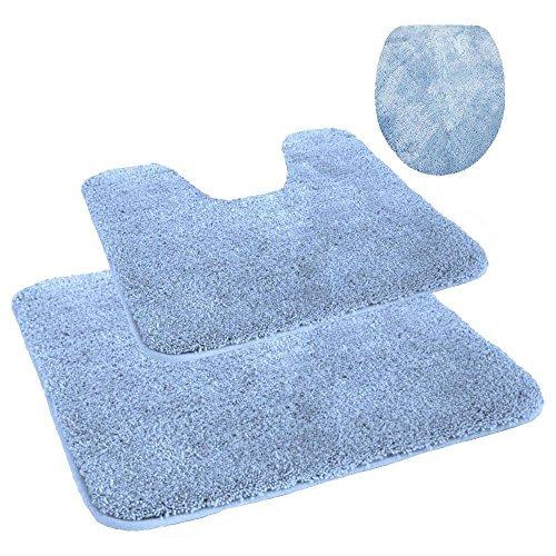 WC-und-Badezimmer-Vorleger-Set-Mikrofaser-Toiletten-und-Badvorleger-3-teiliges-Set-Bodenmatte-MIT-Ausschnitt-fr-Stand-WC-in-der-Farbe-hellblau