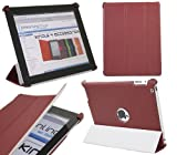 ITALKonline LEATHER MAROON RED SMART SHELL Front & Back Cover Tough Case / Skin with Folding Smart Stand & Sleep Wake Sensor for Apple iPad 2 2nd generation (Wi-Fi and Wi-Fi + 3G) 16GB 32GB 64GB