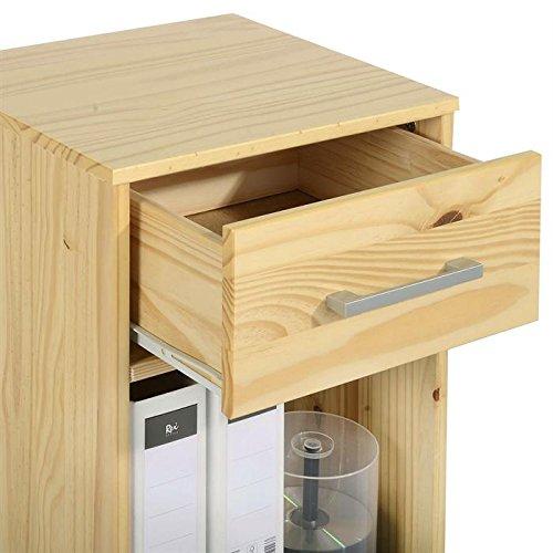 Caisson de bureau sur roulettes 1 tiroir LOGO rangement pin massif vernis naturel