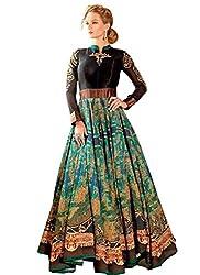 Meet Enterprise New Black & Green Bhagalpuri Designer Gown