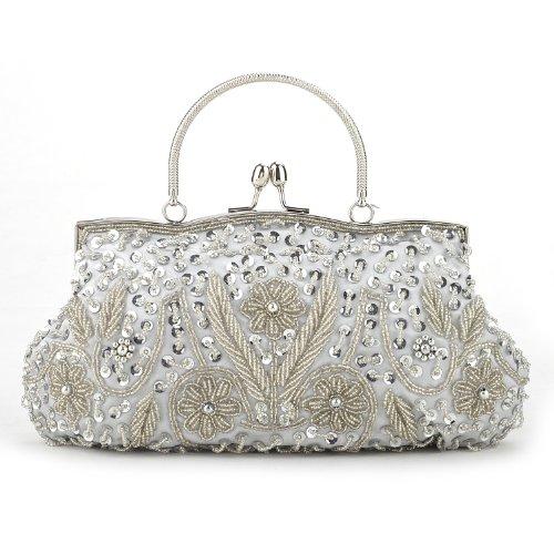 TopTie Beaded Flower Clutch, Silver Evening Handbag,