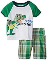 Watch Me Grow! by Sesame Street Baby-Boys Infant 2 Piece Dinosaur Short Set, Green, 24 Months