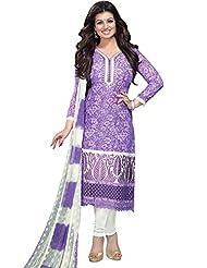 DivyaEmporio Women's Cotton Resham Salwar Suit Dupatta Unstitched Dress Material (Purple_Free Size)