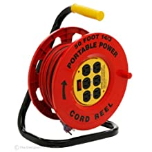 Designers Edge E-235 Power Stations 14/3-Gauge 50-Foot Cord Reel with 6 Outlets