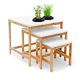Relaxdays-Beistelltisch-BAMBOO-3-Satztisch-Wohnzimmertisch-Holz-Bambus-weiss-lackierte-Tischplatte-3er-Set-verschiedene-Gren-Couchtisch-50-40-30-cm-Sofatisch-im-skandinavischen-Stil-natur