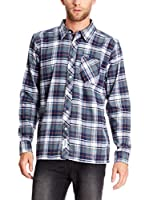Seventy Seven Camisa Hombre Flannel Checked (Azul Marino / Gris / Blanco)