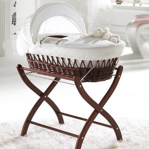 Izziwotnot White Gift Wicker Moses Basket, Dark