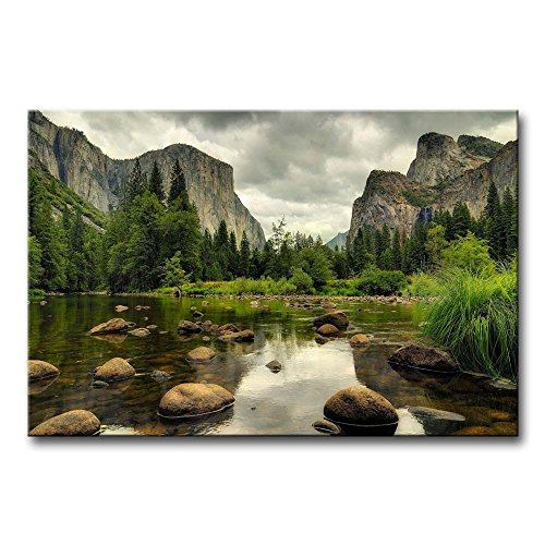 So Crazy Art Green Wall Art Painting Yosemite National Park Clear Water Lake Mountain Trees Rocks Pictures Prints On Canvas Landscape The Picture Decor Oil For Home Modern Decoration Print For Items (Yosemite Picture compare prices)