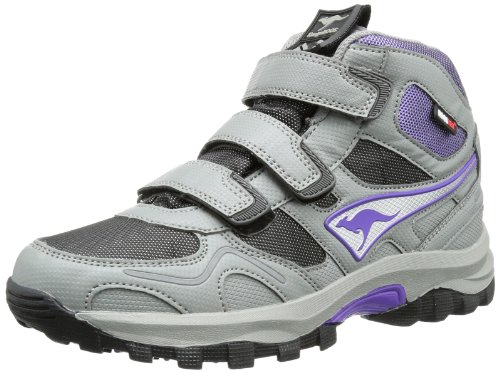 KangaROOS Unisex - Child Elma Mid Velcro WP Trekking & Hiking Shoes Gray Grau (dark grey/black/violet) Size: 35