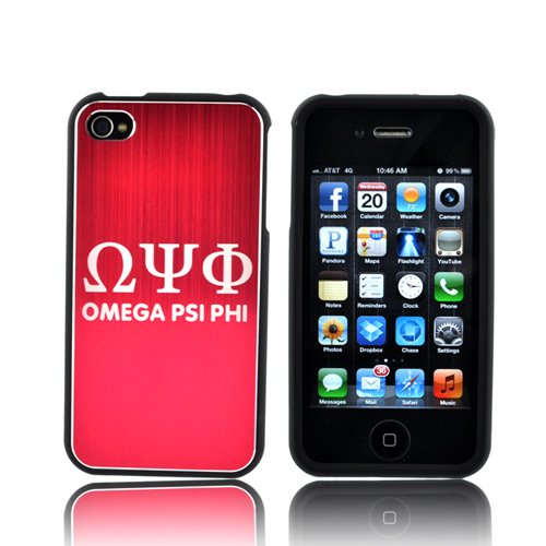 Omega Psi Phi AT&t/ Vzw Apple Iphone 4, Iphone 4s Rubberized Hard Plastic Snap On Shell Case Cover W/ Hot Pink Aluminum Back & 3 Pack Universal Lcd Screen Protector Cover Kit Film Guards (Samsung Omega Lcd Screen compare prices)