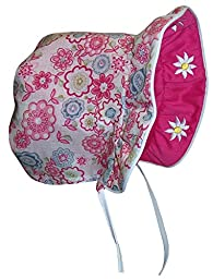 N\'Ice Caps Baby Girls Solid to Print Reversible Sun Bonnet (Infant Small (3-6 months), fuchsia solid/fuchsia print)