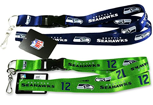 Seattle-Seahawks-Navy-12Man-Set-of-2-Lanyard-NFL-Official-Licensed-footballs-Key-Chain