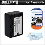 Battery Kit For Panasonic HDC-TM41H HD Camcorder Includes Extended Replacement (2000Mah) VW-VBK180 Battery (Fully Decoded!) + LCD Screen Protectors + MicroFiber Cleaning Cloth