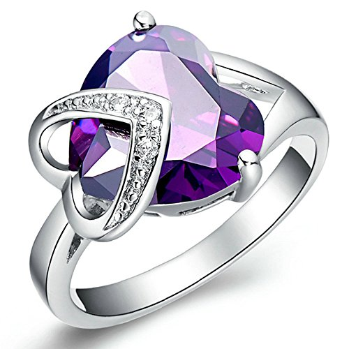 Purple Loving Heart Jewelry Luxury 14K White Gold Ring With Shining Austrian Crystal