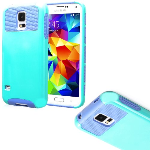 Mylife (Tm) Light Blue And Lavender Purple - Free Flex Series (2 Layer Neo Hybrid) Slim Armor Case For The New Galaxy S5 (5G) Smartphone By Samsung (External Rubberized Hard Shell Flex Piece + Internal Soft Silicone Flexible Bumper Gel)