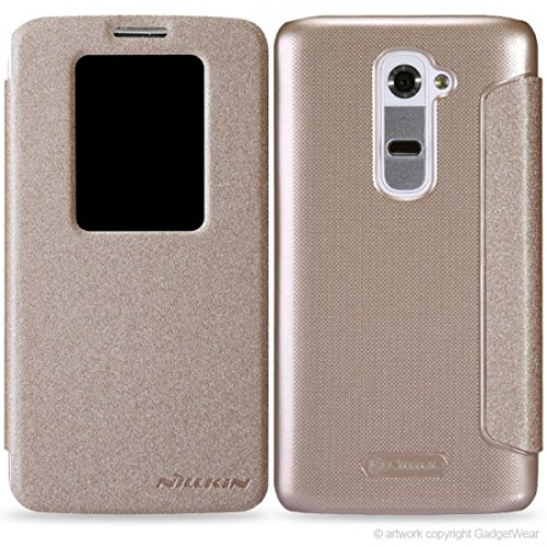 Nillkin Sparkle Window Leather Flip Diary Case Back Cover for LG G2 G 2 - Gold