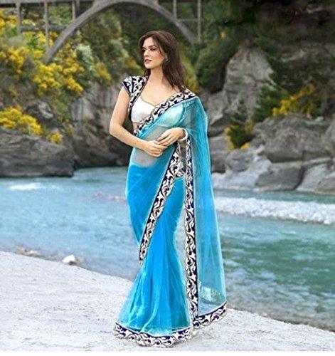 RadadiyaTRD JALPARI Sky Blue Womens Net Sarees