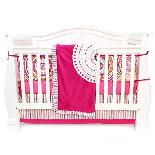 One Grace Place Sophia Lolita Infant Crib Bedding Set, White/Pink/Orange/Black, 4 Piece - 1