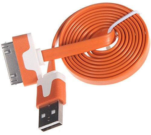 """myLife Gamboge Orange + Vintage White {Flat Tangle-Free Noodle Design} 6′ Feet (1.8 Meter) Quick Charge Cable and USB Data Sync Cord for iPhone, iPod and iPad Models """"SEE COMPATIBILITY"""" (Durable Rubber Coat)"""