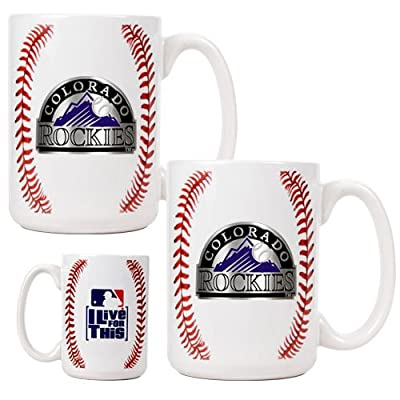 MLB Colorado Rockies Two Piece Ceramic Gameball Mug Set - Primary Logo