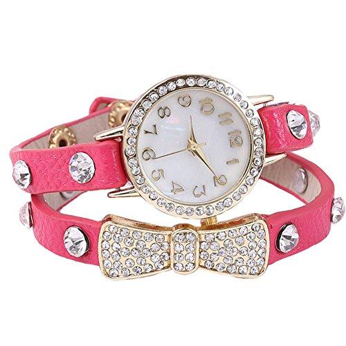 Dayan Women Hot Crystal Wrap Around Leather Strap Quartz Bracelet Chain Wrist Watch Rosen