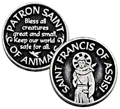 St. Francis Of Assisi Pewter Pocket Token, Patron Saint Of Animals