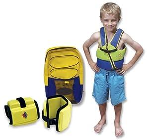 Swim School Combo (ET-9815 Vest, ET-9304 Foam Arm Bands, and DB-8903 Dive Bag) (Medium) Color Green