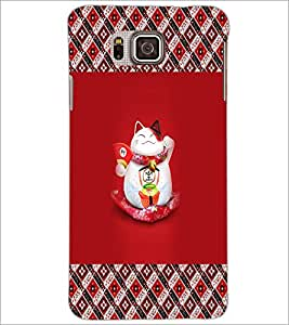 PrintDhaba Happy Kitty D-5672 Back Case Cover for SAMSUNG GALAXY ALPHA (Multi-Coloured)