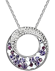 Carina Swarovski Elements Round Purple Crystals Pendant Necklace For Women And Girls