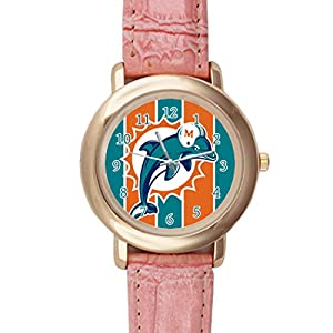 Time Walker Boys Easy to Read NFL Miami Dolphins Crocodile Faux Leather Pink Analog Watches