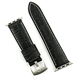APPLE WATCH BAND Replacement band for APPLE WATCH 42mm in Stainless steel Leather Gator (Black with White Stitch)