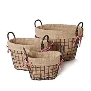 Image Result For Oval Rustic Iron Baskets Handles Burlap