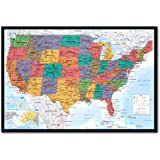 USA United States Map Wall Chart Poster Cork Pin Memo Board Black Framed - 96.5 x 66 cms (Approx 38 x 26 inches)