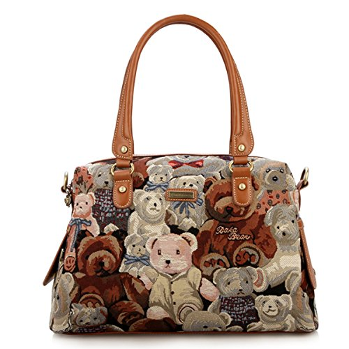 Daka Bear Ladies Tote Shoulder Bag (Camo Bear Coffee)