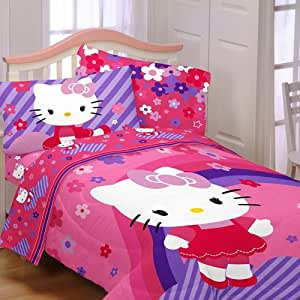 Hello Kitty Raining Flowers 5pc Full Bedding Collection Comforter & Sheet Set