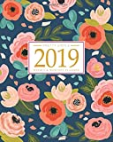 2019 Planner Weekly And Monthly: Calendar + Organizer | Inspirational Quotes And Navy Floral Cover | January 2019 through December 2019