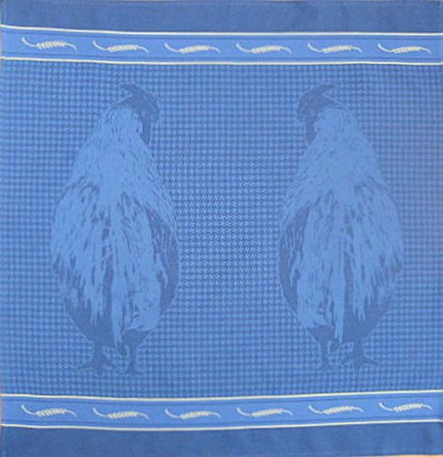 Mierco Fine European Linens 8S-Roo-Blue Rooster Pair Square Tea Towel Set, 26 By 26-Inch, Blue