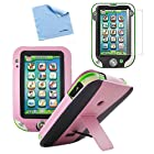 BIRUGEAR Pink Leather Stand Case Cover & Screen Protector for LeapFrog LeapPad Ultra Learning Tablet with *Microfiber Cloth*