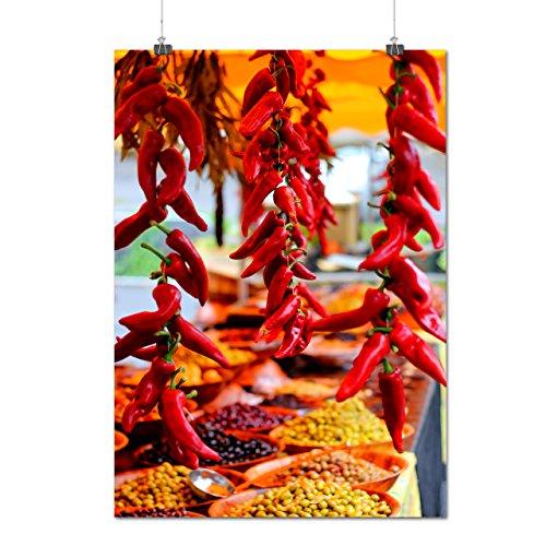 rouge Chaud Épicé Poivre le Chili Matte/Glacé Affiche A1 (84cm x 60cm) | Wellcoda
