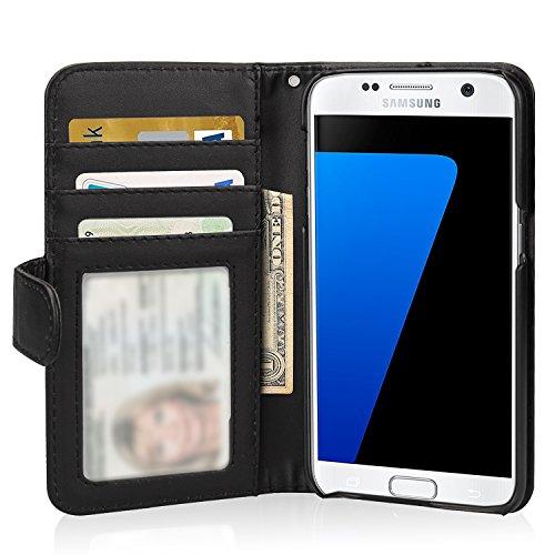 Samsung Galaxy S7 Hülle Brieftasche mit Standfunktion und Karte Halter, Flycool Ledertasche für Samsung Galaxy S7