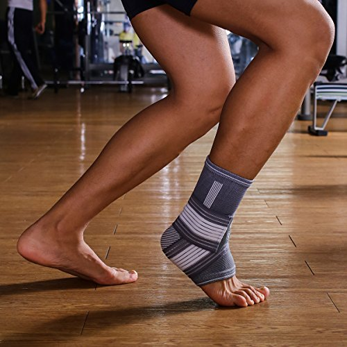 Liveup SPORTS Fitness Ankle Support Elastic Bandage Pressure Compression Sock for Running/Basketball L Size