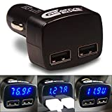 Car Charger – Creative Edge(TM) DualFAV-3.1 Dual USB Car Charger with LED Display – Displays Voltage, Amps and Internal Temperature (Fahrenheit) – Total of 3.1 amps, 10W, Compatible with iPhone 6, 6 Plus, 5s, 5c, 4s, 4, iPods, iPad, Samsung Galaxy Note 2, Note 3, S2 S3, S4, S5, HTC One, LG G3, Most Android/Windows Smart Cell Phones, GPS, Tablets, and Other USB-charged Devices (Black with BLUE LED) thumbnail