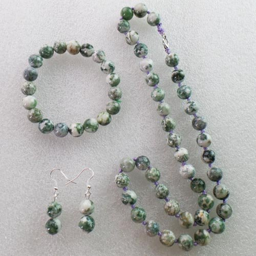 Moss Agate Round Necklace & Stretchy Bracelet & Earrings Set (Moss Agate Ring compare prices)