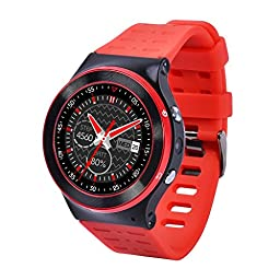 YIDA SW309 Quad Core Smart Watch Phone with Nano SIM Card Android5.1 WCDMA 3G WIFI Full Round Touch Screen Bluetooth 4.0 Pedometer Heart Rate Hands Free Call (SW309-Red)