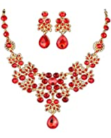 HeroNeo® Silver Red Alloy Rhinestone Earrings Crystal Pendant Necklace Bridal Jewelry Set (Red)