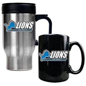 NFL Detroit Lions Travel Mug & Ceramic Mug Set by Great American Products
