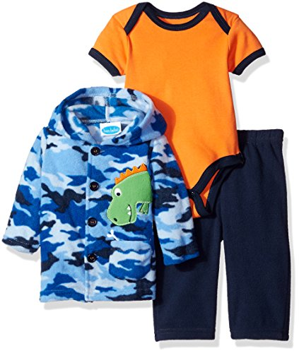 BON BEBE Baby Boys 3 Piece Microfleece Jacket Set with Bodysuit and Pant