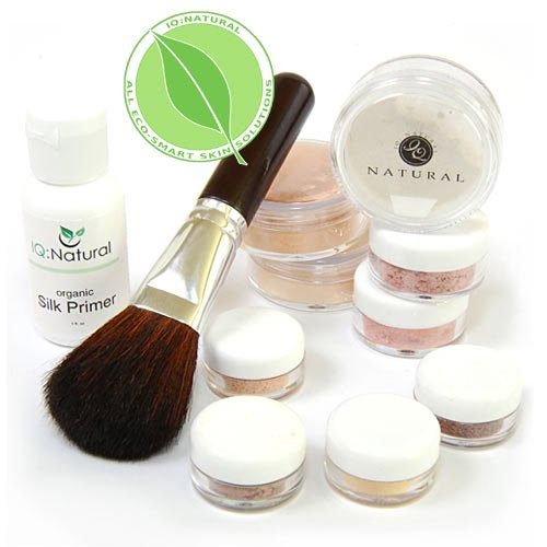 IQ Natural Bare Minerals Large Makeup Set. 11pc with Flawless Face Brush